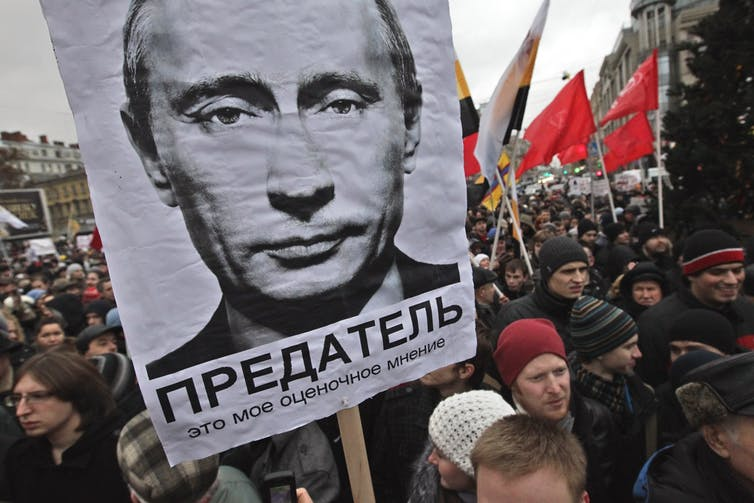 Government opposition supporters in St Petersburg protest against election violations in December 2011. Anatoly Maltsev:EPA